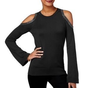 MICHAEL MK Cold-Shoulder Black Cotton Sweater
